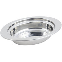 Bon Chef 5204 13 inch x 9 inch x 3 inch Stainless Steel 2 Qt. Full Size Oval Plain Design Food Pan