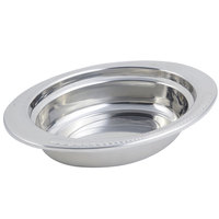 Bon Chef 5404 13 inch x 9 inch x 3 inch Stainless Steel 2 Qt. Full Size Oval Laurel Design Food Pan