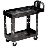 Rubbermaid FG450088BLA Black Small Two Lipped Shelf Utility Cart