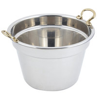 Bon Chef 5214HR 12 inch x 8 inch Stainless Steel 11 Qt. Plain Design Soup Inset with Round Brass Handles