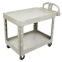 Rubbermaid FG452088BEIG Beige Medium Two Lipped Shelf Utility Cart