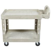 Rubbermaid FG452088BEIG Beige Medium Lipped Two Shelf Utility Cart with Ergonomic Handle