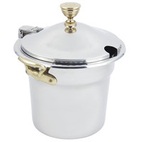 Bon Chef 5611WHCHR 10 5/8 inch x 8 1/4 inch Stainless Steel 7 Qt. Arches Design Soup Tureen with Hinged Cover and Round Brass Handles