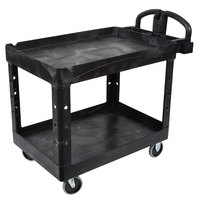 Rubbermaid FG452088BLA Black Medium Two Lipped Shelf Utility Cart