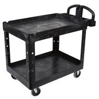 Rubbermaid FG452088BLA Black Medium Lipped Two Shelf Utility Cart with Ergonomic Handle