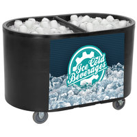 IRP Black Texas Tanker 3501549 Portable Insulated Ice Bin / Beverage Cooler / Merchandiser with Two Compartments 256 Qt.