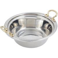 Bon Chef 5456HR 13 inch x 12 inch x 4 inch Stainless Steel 4 Qt. Casserole Laurel Design Food Pan with Round Brass Handles