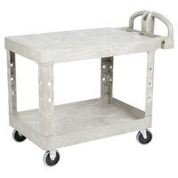 Rubbermaid FG452500BEIG Beige Medium Flat Two Shelf Utility Cart with Ergonomic Handle