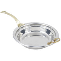Bon Chef 5455HL 13 inch x 12 inch x 3 inch Stainless Steel 2.5 Qt. Casserole Laurel Design Food Pan with Long Brass Handle