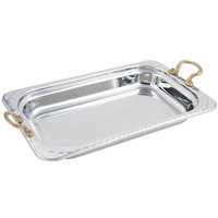 Bon Chef 5608HR 22 inch x 14 inch x 3 inch Stainless Steel 9 Qt. Full Size Rectangular Arches Design Food Pan with Round Brass Handles