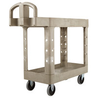 Rubbermaid FG450088BEIG Beige Small Lipped Two Shelf Utility Cart with Ergonomic Handle