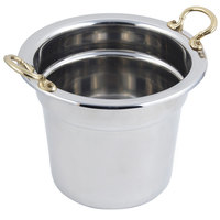Bon Chef 5211HR 10 5/8 inch x 8 1/4 inch Stainless Steel 7 Qt. Plain Design Soup Inset with Round Brass Handles