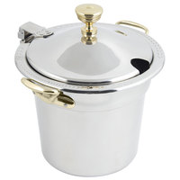 Bon Chef 5411WHCHR 7 Qt. Stainless Steel Laurel Design Soup Tureen with Hinged Cover and Round Brass Handles