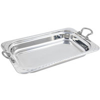 Bon Chef 5608HRSS 22 inch x 14 inch x 3 inch Stainless Steel 9 Qt. Full Size Rectangular Arches Design Food Pan with Round Stainless Steel Handles