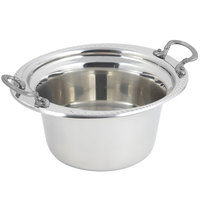 Bon Chef 5450HRSS 10 inch x 9 inch x 5 inch Stainless Steel 2 Qt. Casserole Laurel Design Food Pan with Round Stainless Steel Handles