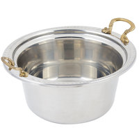 Bon Chef 5460HR 12 inch x 12 inch x 6 inch Stainless Steel 5 Qt. Casserole Laurel Design Food Pan with Round Brass Handles