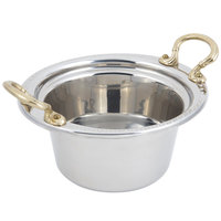 Bon Chef 5350HR 10 inch x 9 inch x 5 inch Stainless Steel 2 Qt. Bolero Design Casserole Food Pan with Round Brass Handles