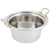 Bon Chef 5360HR 12 inch x 12 inch x 6 inch Stainless Steel 5 Qt. Bolero Design Casserole Food Pan with Round Brass Handles