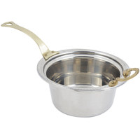 Bon Chef 5460HL 12 inch x 12 inch x 6 inch Stainless Steel 5 Qt. Casserole Laurel Design Food Pan with Long Brass Handle