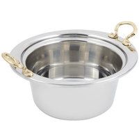 Bon Chef 5260HR 12 inch x 12 inch x 6 inch Stainless Steel 5 Qt. Plain Design Casserole Food Pan with Round Brass Handles
