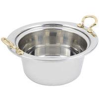 Bon Chef 5250HR 10 inch x 9 inch x 5 inch Stainless Steel 2 Qt. Plain Design Casserole Food Pan with Round Brass Handles