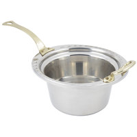 Bon Chef 5650HL 10 inch x 9 inch x 5 inch Stainless Steel 2 Qt. Arches Design Casserole Food Pan with Long Brass Handle