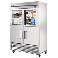 True TS-49-2-G-2 54 inch Stainless Steel Two Section Solid Half Door Reach In Refrigerator with Glass and Solid Doors - 49 Cu. Ft.