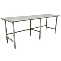16 Gauge Advance Tabco TMS-248 24 inch x 96 inch Open Base Stainless Steel Commercial Work Table with Stainless Steel Legs - Type 304