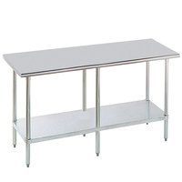 Advance Tabco MG-2412 24 inch x 144 inch 16 Gauge Stainless Steel Commercial Work Table with Galvanized Steel Undershelf