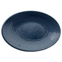 Elite Global Solutions D812RR Pebble Creek Lapis-Colored 12 3/4 inch x 8 3/4 inch Oval Platter