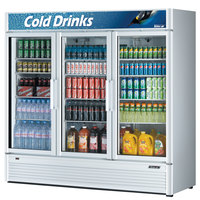 Turbo Air TGM-72SD 78 inch Super Deluxe Three Section Glass Door White Merchandising Refrigerator - 71.3 cu. ft.