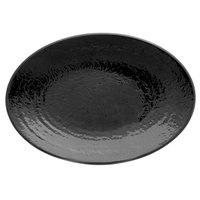 Elite Global Solutions D812RR Pebble Creek Black 12 3/4 inch x 8 3/4 inch Oval Platter - 6/Case