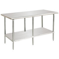 "Advance Tabco MS-308 30"" x 96"" 16 Gauge Stainless Steel Commercial Work Table with Stainless Steel Undershelf"