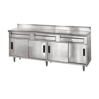 Advance Tabco SDRC-308 30 inch x 96 inch 14 Gauge Enclosed Base Stainless Steel Work Table with 3 Drawers, 4 Sliding Doors and 5 inch Backsplash