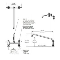 Equip by T&S 5F-8DLX16 Deck Mount Faucet with 8 inch Adjustable Centers and 16 inch Swing Spout