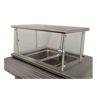 Advance Tabco Sleek Shields NSGC-18-144 Cafeteria Food Shield with Stainless Steel Shelf - 18 inch x 144 inch x 18 inch
