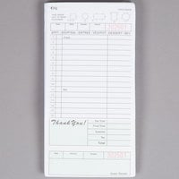 Choice 2 Part Segmented Green and White Carbonless Guest Check with Beverage Lines and Bottom Guest Receipt - 50/Case