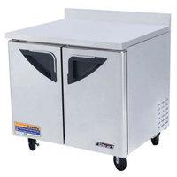 Turbo Air TWR-36SD 36 inch Super Deluxe Two Door Worktop Refrigerator - 11 Cu. Ft.