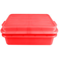 Vollrath 1551-C02 Red 15 inch x 20 inch Polypropylene Food Storage Combo Set with Snap-On Lid