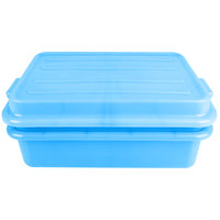 Vollrath 1551-C04 Traex Color-Mate Blue 20 inch x 15 inch x 5 inch Food Storage Drain Box Set with Snap-On Lid