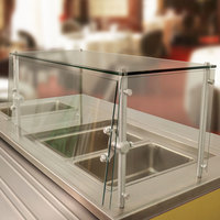 Advance Tabco Sleek Shield GSGC-15-144 Cafeteria Food Shield with Glass Top - 15 inch x 144 inch x 18 inch