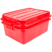 Vollrath 1535-C02 Traex® Color-Mate Red Food Storage Drain Box Set with Raised Snap-On Lid - 20 inch x 15 inch x 7 inch