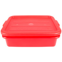 Vollrath 1501-C02 Traex Color-Mate Red 20 inch x 15 inch x 5 inch Food Storage Drain Box Set with Recessed Lid
