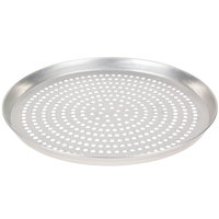 American Metalcraft SPTDEP14 14 inch x 1 inch Super Perforated Tin-Plated Steel Tapered / Nesting Deep Dish Pizza Pan