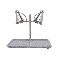 Buffet Enhancements 010HFD-GG30RT 30 inch Carving Station with Rectangle Gray Granite Base and Two Flex Lamps