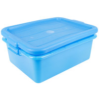 Vollrath 1505-C04 Traex® Color-Mate Blue 20 inch x 15 inch x 7 inch Food Storage Drain Box Set with Recessed Lid