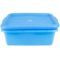 Vollrath 1505-C04 Traex Color-Mate Blue 20 inch x 15 inch x 7 inch Food Storage Drain Box Set with Recessed Lid