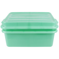 Vollrath 1535-C19 Traex Color-Mate Green 20 inch x 15 inch x 7 inch Food Storage Drain Box Set with Snap-On Lid