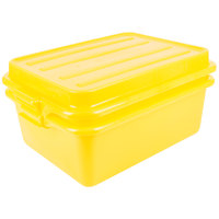 Vollrath 1535-C08 Traex® Color-Mate Yellow Food Storage Drain Box Set with Raised Snap-On Lid - 20 inch x 15 inch x 7 inch