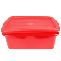Vollrath 1505-C02 Traex Color-Mate Red 20 inch x 15 inch x 7 inch Food Storage Drain Box Set with Recessed Lid